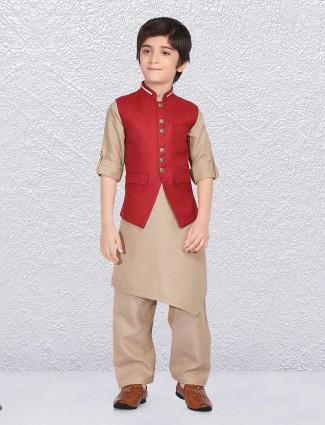Wedding red jute waistcoat set