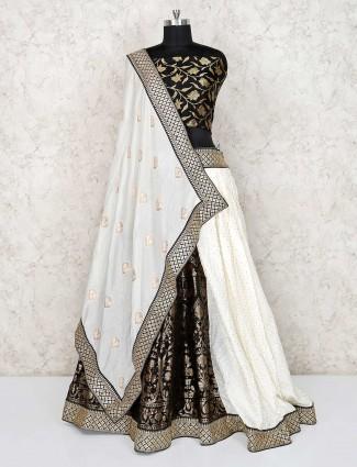 Wedding wear banarasi silk semi stitched lehenga choli