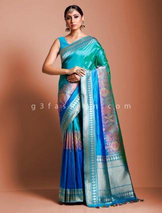 Wedding wear blue pure handloom banarasi silk saree