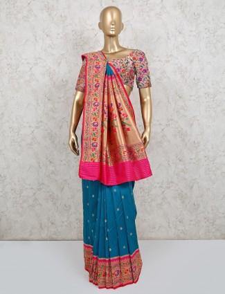 Wedding wear blue banarasi silk saree