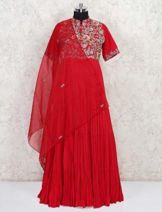 Wedding wear floor length maroon gown