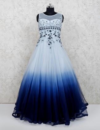Wedding wear floor length navy gown in net