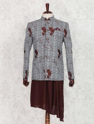 Wedding wear grey and maroon indo western