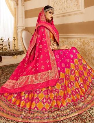 Wedding wear magenta color banarasi silk lehenga choli