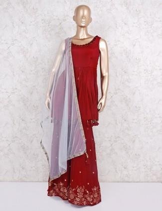 Wedding wear maroon designer sharara suit