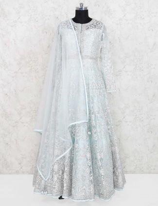 Wedding wear net fabric sea green gown