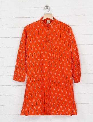 Wedding wear orange printed kurta suit