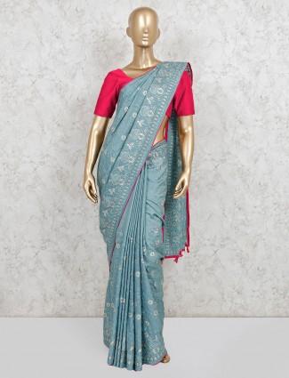 Wedding wear powder blue dola silk saree