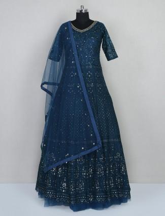 Wedding wear rama blue gown in net