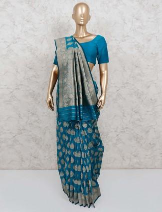 Wedding wear rama green banarasi silk saree