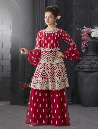 Wedding wear red hue net fabric sharara suit