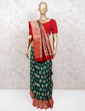 Wedding wear sari in green