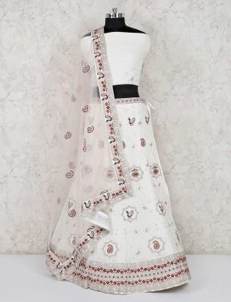 Wedding white semi stitched lehenga choli