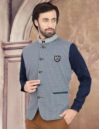 White and Blue hue cotton checks pattern waistcoat