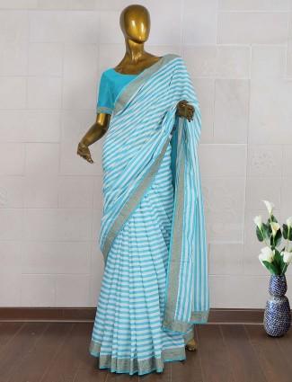 White and blue stripe pasmina silk saree