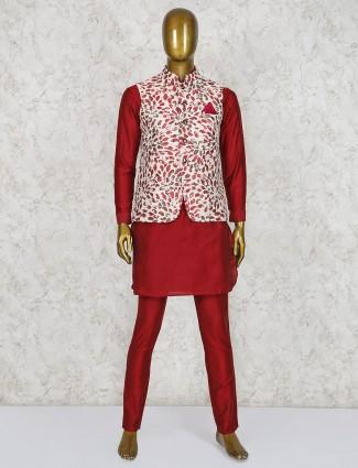 White and maroon raw silk printed waistcoat set