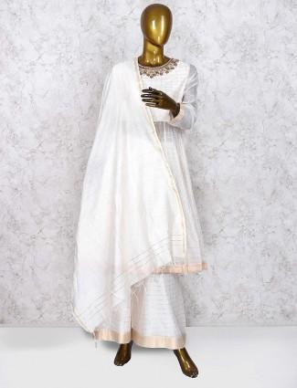 White color festive wear cotton silk punjabi palazzo suit