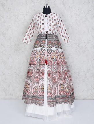 White cotton silk printed jecket style lehenga choli