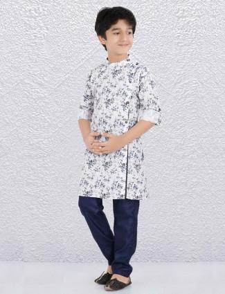 White flower printed cotton fabric kurta suit