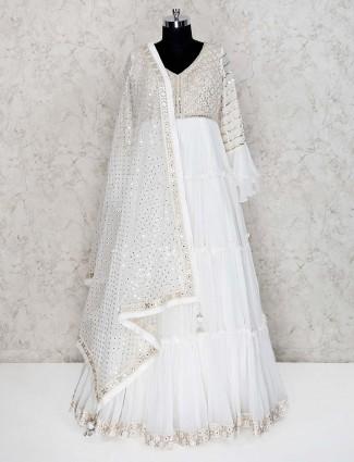 White georgette floor length anarkali suit for wedding
