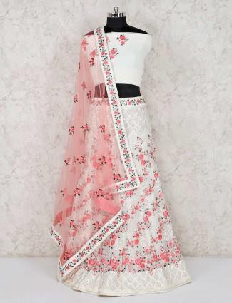 White georgette semi stitched designer lehenga choli