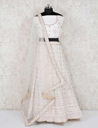 White georgette semi stitched lehenga choli for indian marriage