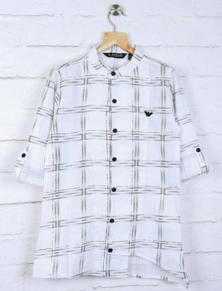 White hue checks fabric boys kurta suit