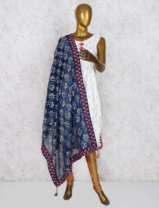White hue cotton silk pretty punjabi salwar suit