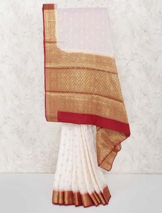 White hue festive georgette saree