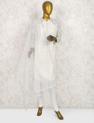 White hue georgette punjabi salwar suit