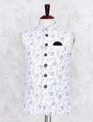 White hue printed terry rayon fabric waistcoat