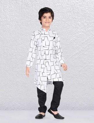 White printed cotton kurta suit
