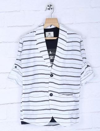 White stripe cotton fabric blazer