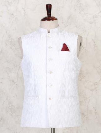 White textured cotton silk waist coat