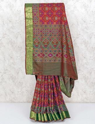 Wine maroon patola printed cotton silk saree