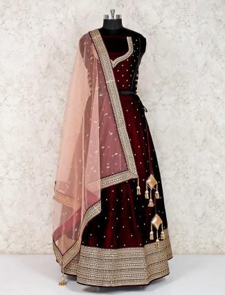 Wine maroon velvet designer semi stitched lehenga choli