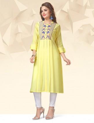 Wonderful light yellow color cotton kurti