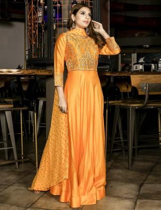 Wonderful orange cotton silk floor length anarkali salwar suit