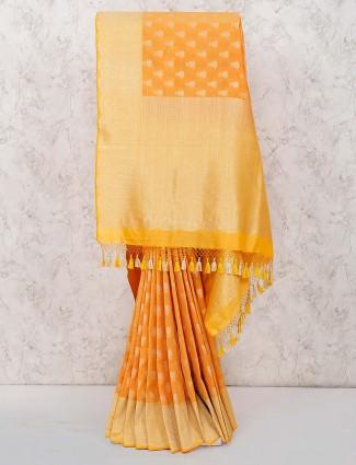 Wonderful orange hue banarasi semi silk wedding saree