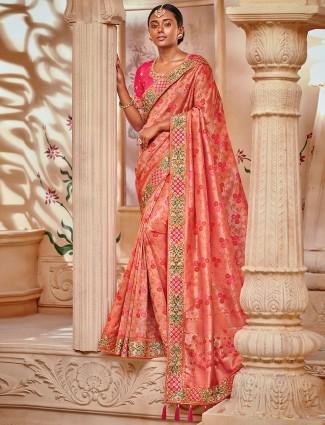 wonderful peach semi silk festive saree