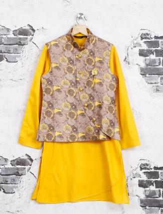 Yellow and beige waistcoat set