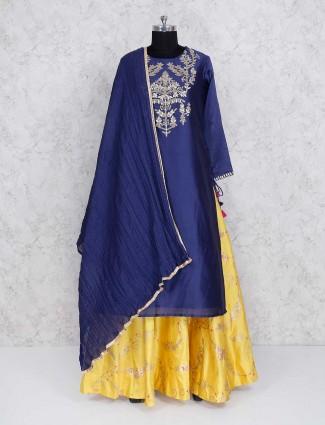 Yellow and blue silk lehenga cum salwar suit