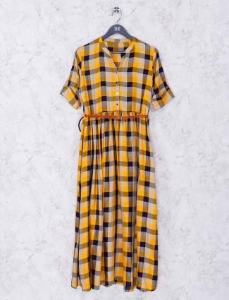 Yellow and navy cotton casual kurti