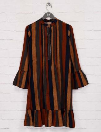 Yellow and orange stripe designer long top