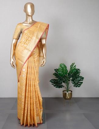 Yellow banarasi cotton silk for festive