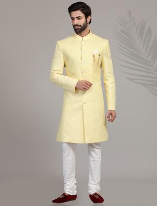 Yellow chikankari linen indo western