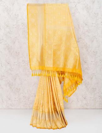 Yellow color banarasi semi silk wonderful saree