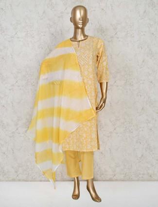 Yellow colour cotton pant suit for festival