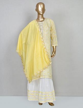 Yellow cotton festive wear sharara suit