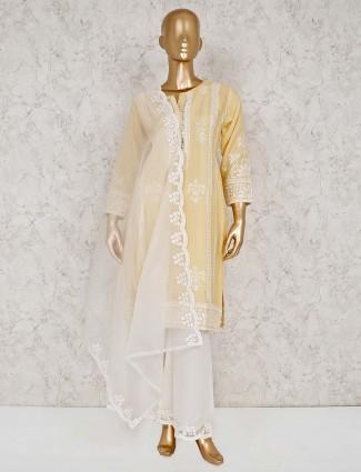 Yellow cotton punjabi palazzo salwar suit